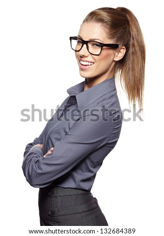 Cute young business woman with glasses #132684389