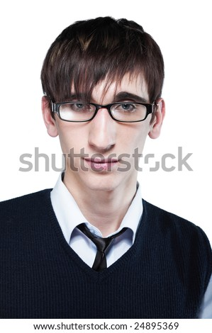 stock photo : Cute young guy with fashion haircut wearing glasses, on white