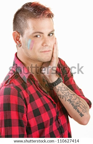 Cute young man with spiky hair paint on face