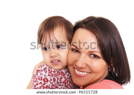 cute young mother with her little daughter