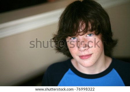 cute young teen boy in natural light