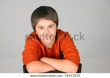 stock photo : cute young teen boy in studio smiling. Save to a lightbox ▼