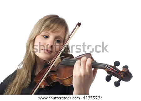 Cute young violinist playing violin over white background