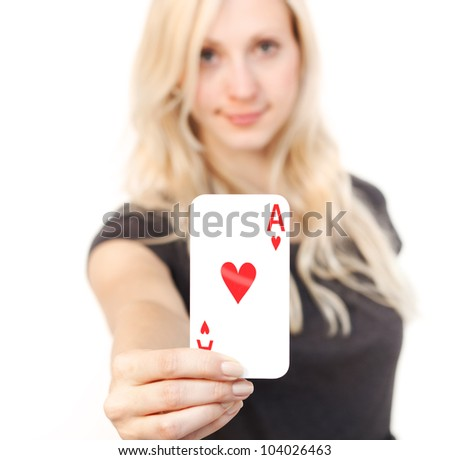Cute young woman holding the like card