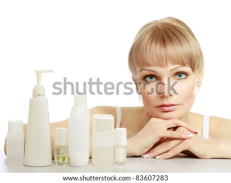 Lifestyle - Pagina 4 Stock-photo-cute-young-woman-with-cosmetic-products-isolated-on-white-background-83607283