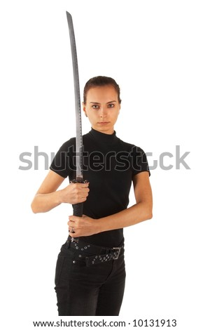Cute Young woman with sword. Isolated. See portfolio for more...