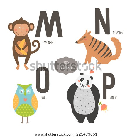 with cartoon animals isolated on white background. M, n, o, p letters ...