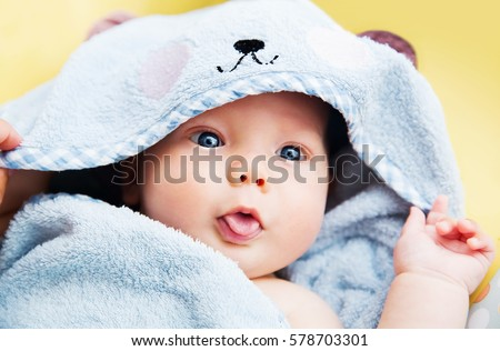 cutest baby child after bath...