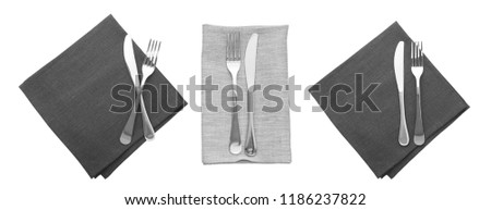 cutlery and napkin icloseup solated on white. Mock up napkins for design. Napkins top view square. Set