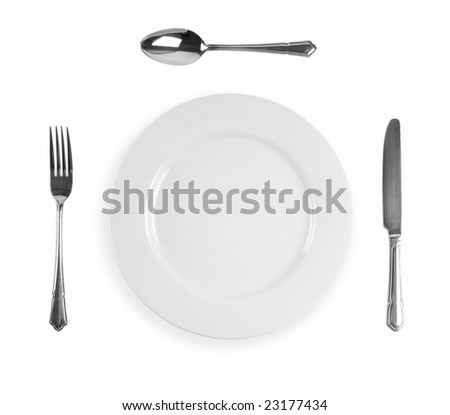 Cutlery dinner setting with knife,  fork, spoon and plate