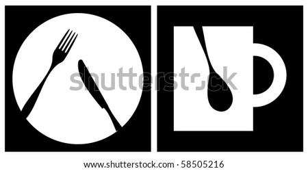 Cutlery icons. White fork, knife, dish, cup and spoon silhouettes on black background with white frame.