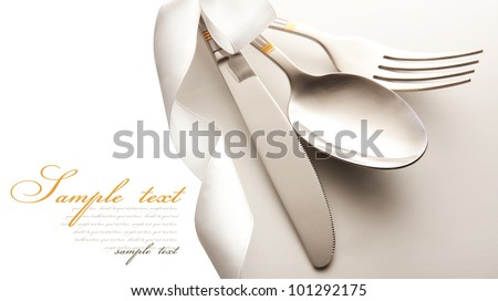 cutlery - knife, spoon and fork . isolated on a white background