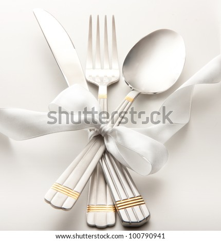 cutlery - knife, spoon and fork tied ribbon #100790941