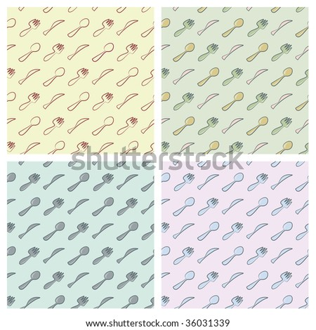 Cutlery seamless pattern in four different colour arrangements