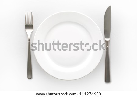 Cutlery Set with plate. On white background