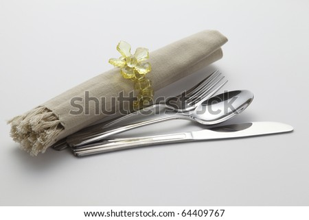 cutlery set with rolled napkin and holder