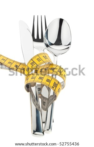 Cutlery with tape. Symbol for diet and weight loss.