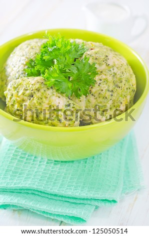 cutlets from chicken and broccoli - stock photo