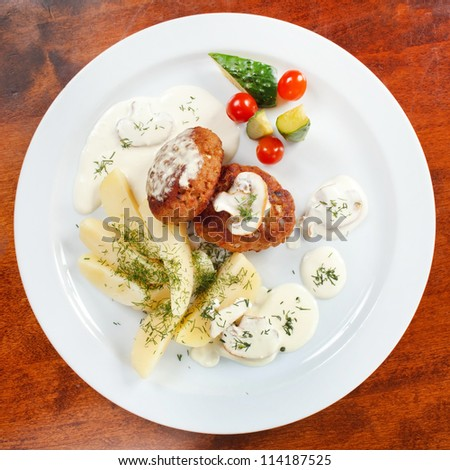 cutlets with fresh vegetables