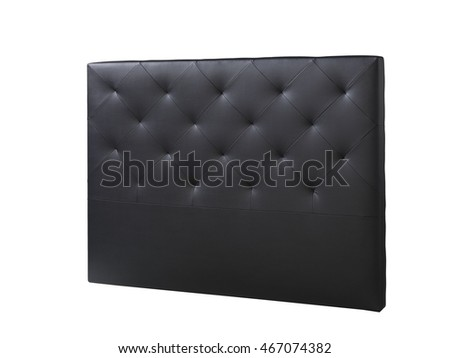 cutout black leather headboard bed bedroom #467074382