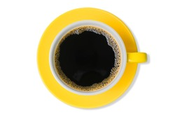 cutout Italian style hot black coffee with heart-shaped froth in the yellow coffee cup isolated on white background top view with clipping path