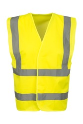 Cutout of a yellow safety vest viewed at the front.