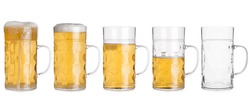 Cutout of five glass mugs with beer sorted from full to empty