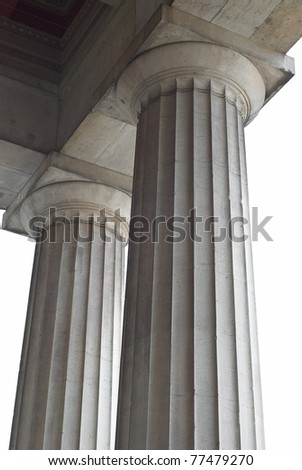 Cutout of Two Classical Greek Columns from a Low Angled View - stock photo
