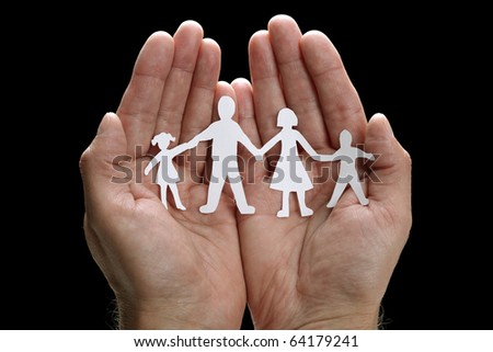 Cutout paper chain family with the protection of cupped hands, concept for security and care #64179241