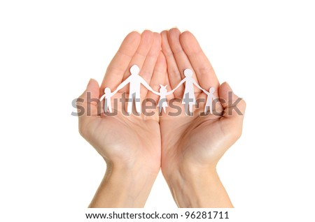 Cutout paper chain family with the protection of cupped hands, concept for security and care on white background