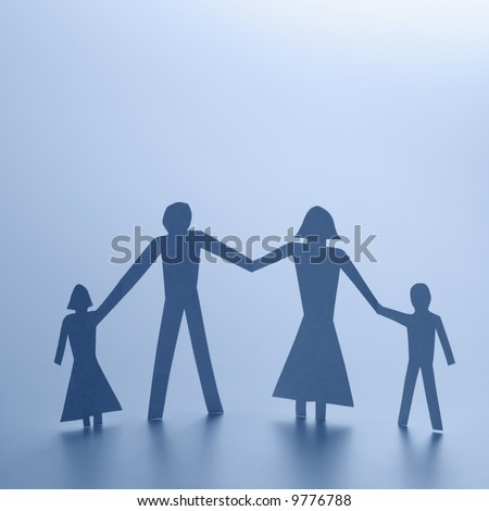 black and white pictures of people holding hands. stock photo : Cutout people