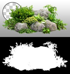 Cutout rock surrounded by flowers. Garden design isolated on transparent background via an alpha channel. Flowering shrub and green plants for landscaping. Decorative shrub and flower bed.