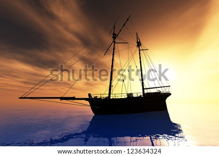 Cutter in the Sea in the Sunset Sunrise - stock photo