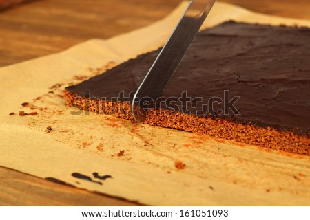 Cutting a cake into slices. Making Chocolate Brownie. Series. #161051093