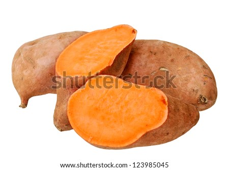cutting and whole sweet potatoes isolated on white background