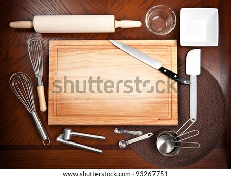 Cutting Board And Other Kitchen Tools Stock Photo 93267751