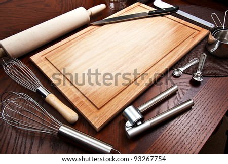 Cutting Board And Other Kitchen Tools Stock Photo