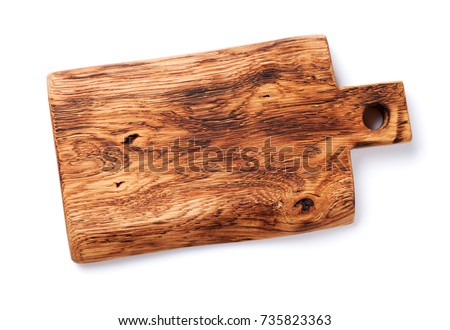 Cutting board. Isolated on white background. Top view #735823363