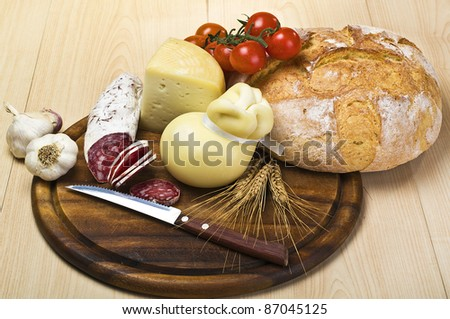 cutting board with cheese,salami and spices