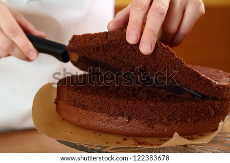 Cutting Cake on Layers. Making Chocolate Layer Cake. Series.