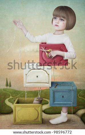 Cutting girl. Illustration, card or a poster. Wooden boxes with the little girl with the scissors. Computer Graphics.