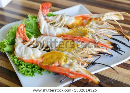 Grilled giant river prawn at Ayutthaya, Thailand Images and