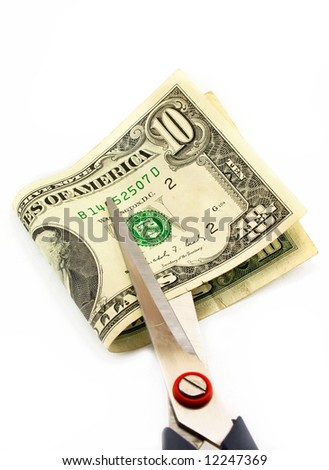 Cutting of money by scissors