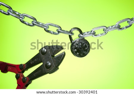 Cutting open chain lock on green background stock photo 30392401 shutterstock - How to open chain lock ...