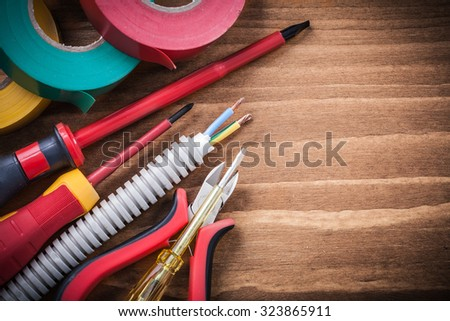 Cutting pliers insulated screwdriver corrugated tube electrical wires insulating tape.