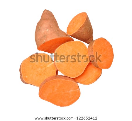 cutting sweet potatoes isolated on white background
