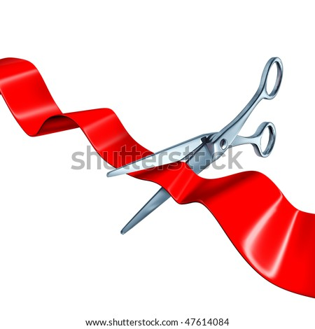 cutting the ribbon isolated on white