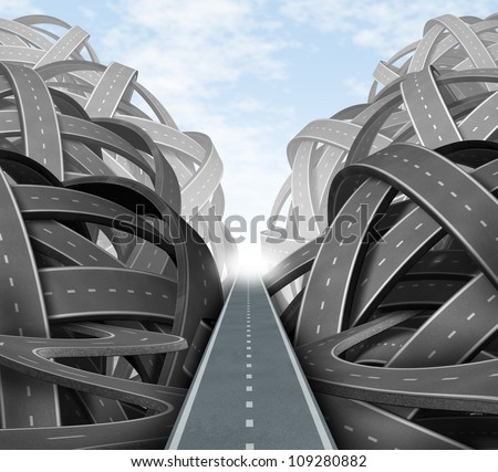 Cutting through the confusion with clear strategy and solutions for business leadership with a straight path to success choosing the right strategic path through a maze of tangled roads and highways. - stock photo