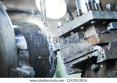 cutting tool turning metal detail. metalworking industry