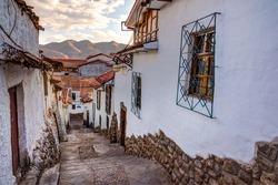 CUZCO PERU: View of San Blas town streets.